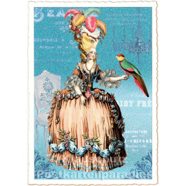 Retro Glitterkarte - Dame mit Papagei