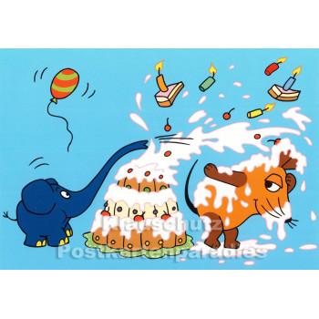 Maus und Elefant mit Torte | Geburtstagskarte