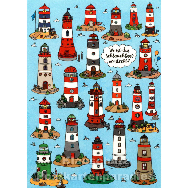 Wimmelbild Postkarte - Leuchttürme