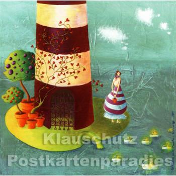 Frau und Leuchtturm | Quadratische Postkarte