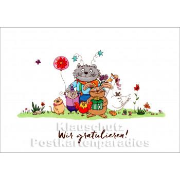 Wir gratulieren zum Geburtstag | Tiere Postkarte