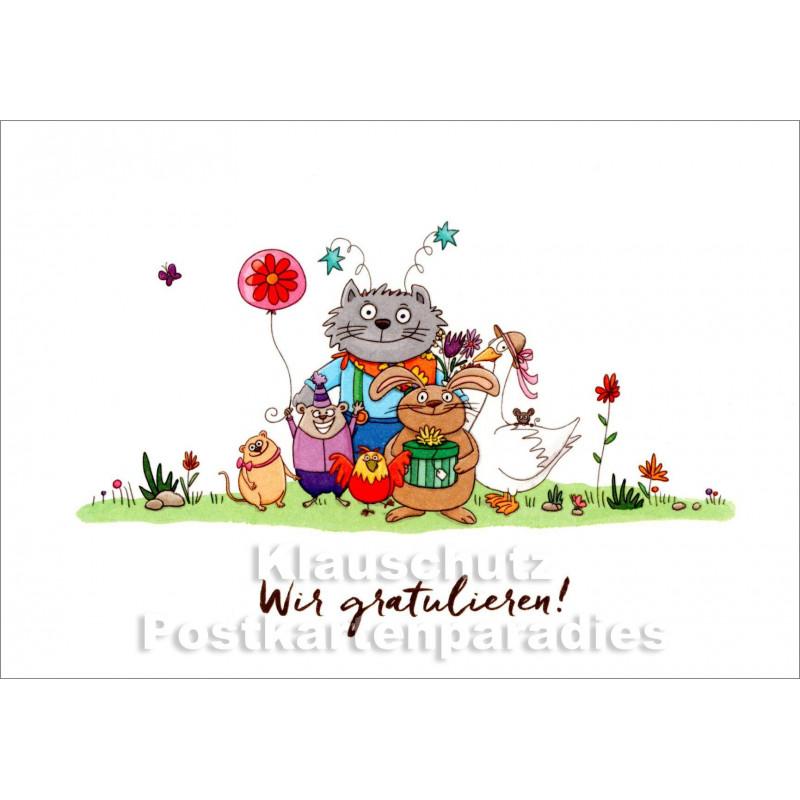 Kinder Postkarte Zum Geburtstag Mit Tieren