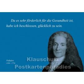 Voltaire | Zitat Postkarte vom Postkartenparadies - Glücklich