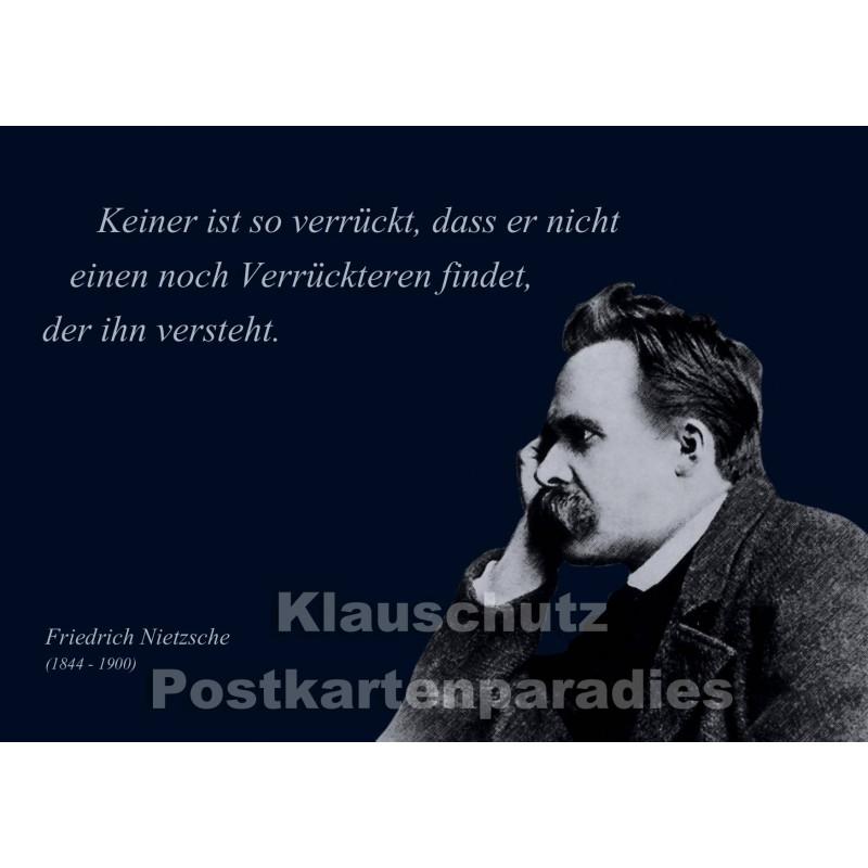 Nietzsche | Zitat Postkarte - Verrückt