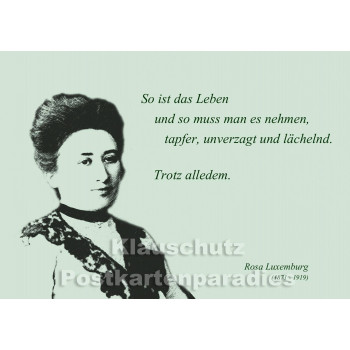 Rosa Luxemburg | Zitat Postkarte vom Postkartenparadies - Trotz alledem