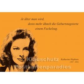 Katharine Hepburn | Zitat Postkarte vom Postkartenparadies - Geburtstagstorte
