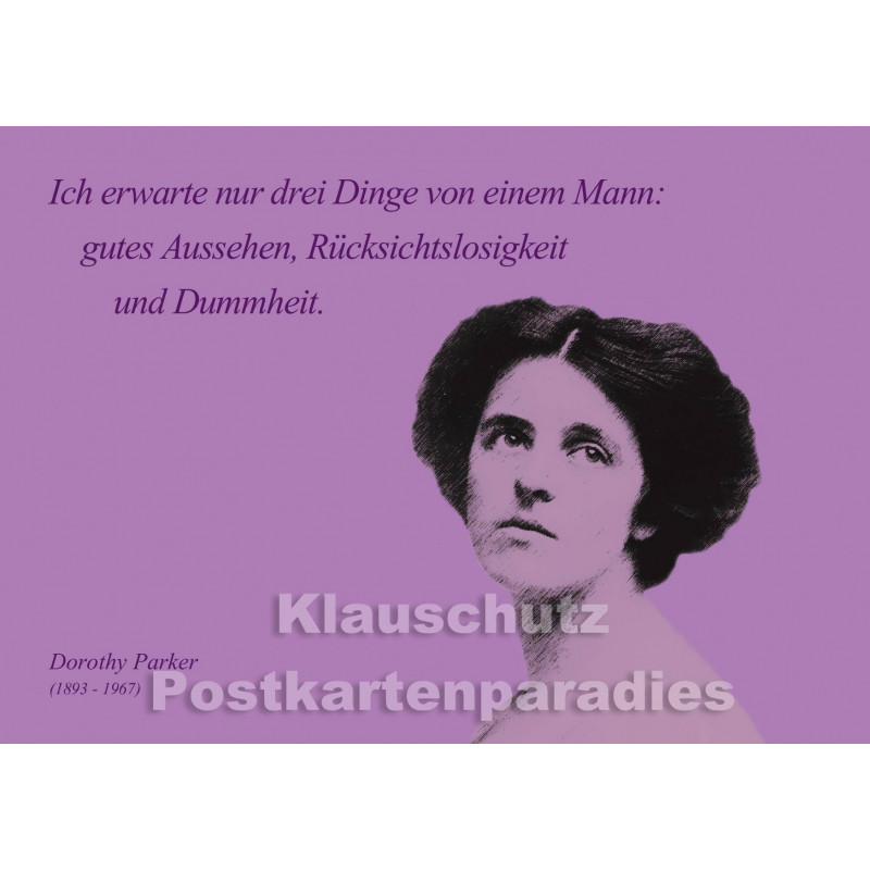 Dorothy Parker | Zitat Postkarte - Männer