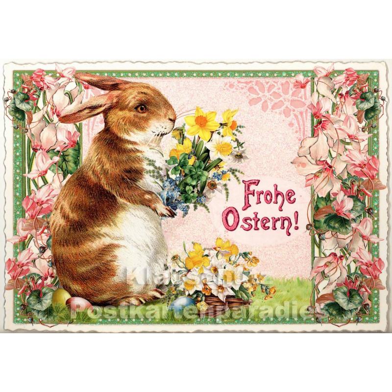 Retro Glitterkarte - Frohe Ostern Osterhase
