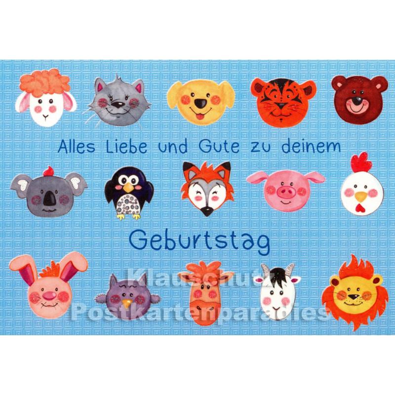 Alles Liebe und Gute | Tier Geburtstagskarte