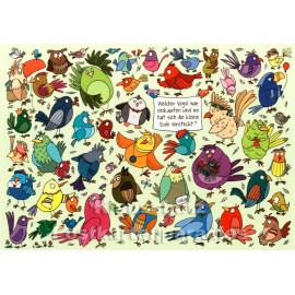 Wimmelbild Postkarte - Vogel und Eule