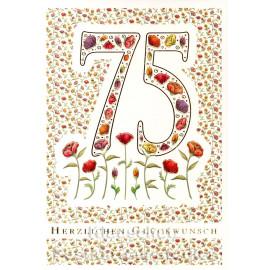 Doppelkarte runder Geburtstag | 75