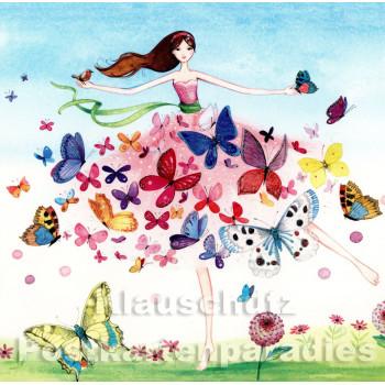 Frau und Schmetterlinge | Quadratische Postkarte