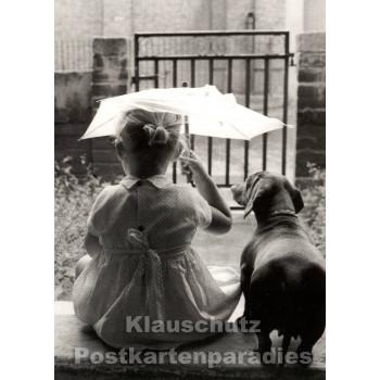 Foto Postkarte s/w | Kind mit Hund
