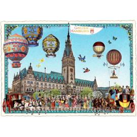 Nostalgie Postkarte - Gruß aus Hamburg