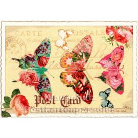 Retro Glitterkarte - Schmetterlinge und Rosen