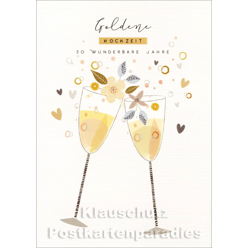 Goldene Hochzeit Doppelkarte 50 Wundervolle Jahre