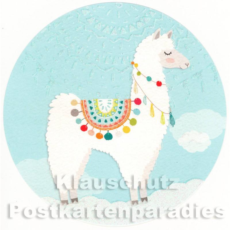Runde Postkarte - Lama