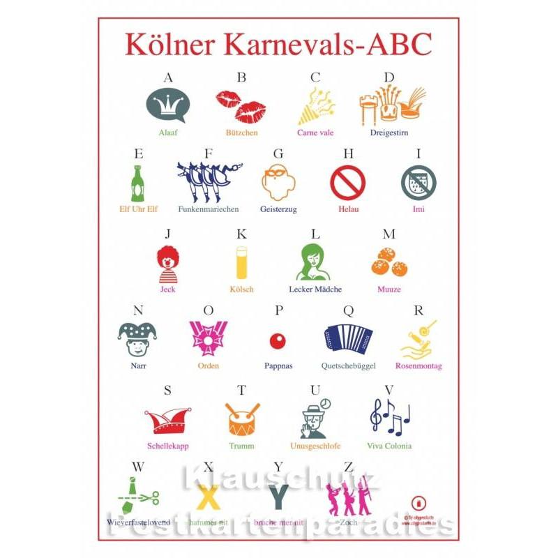 Kölner Karnevals-ABC - Kölsch Postkarte