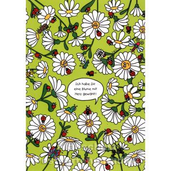 Doppelkarte Wimmelbild Blume mit Herz