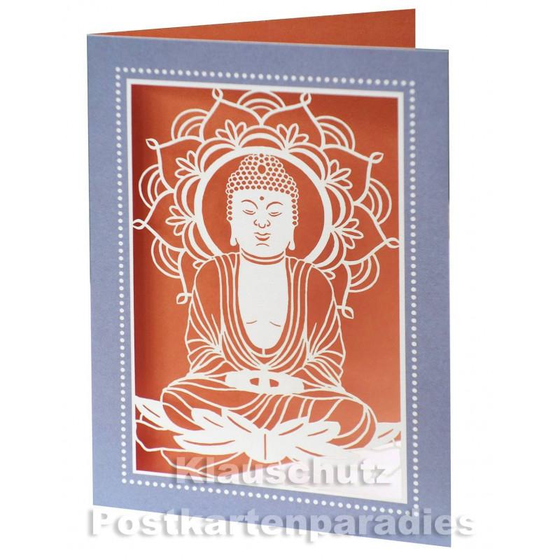 Doppelkarte Laserstanzung - Buddha
