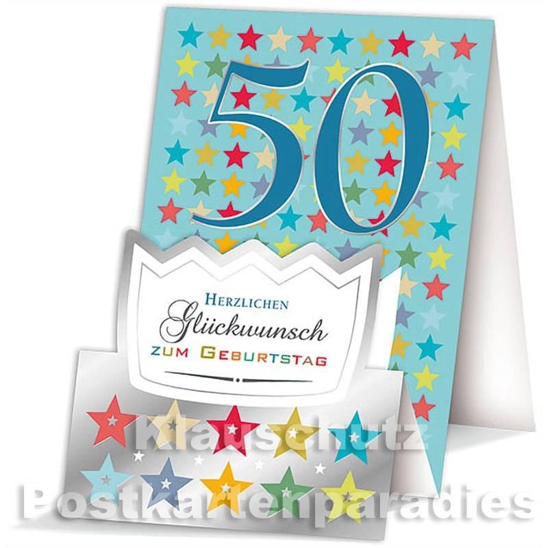 Doppelkarte / Aufstellkarte - runder Geburtstag | 50