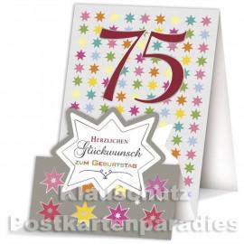 Doppelkarte / Aufstellkarte - runder Geburtstag | 75