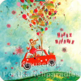 Rotes Auto | Quadratische Postkarte Geburtstag