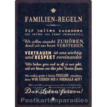 Familien-Regeln - Up-Cards Aufstell Postkarte von Taurus