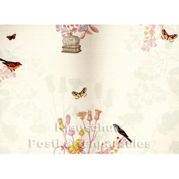 Doppelkarte zum Geburtstag mit Vögeln (Innenteil)