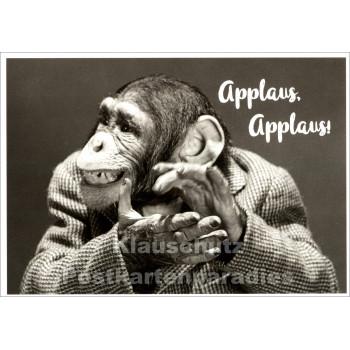 Lustige Tierpostkarte mit Schimpansen: Applaus, Applaus