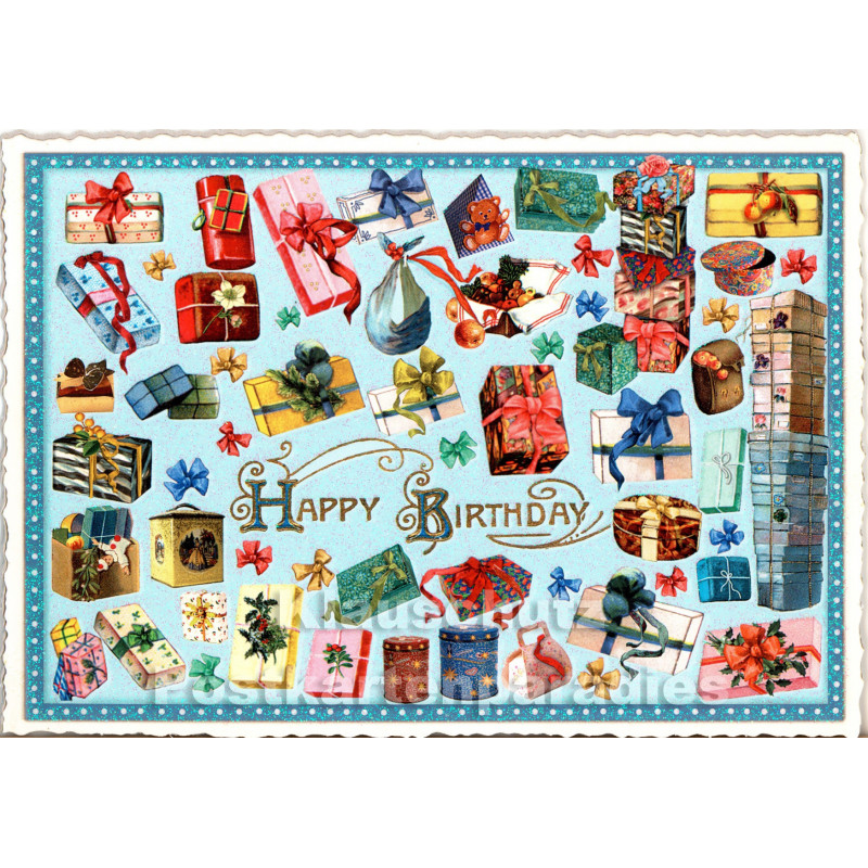 Retro Glitterkarte zum Geburtstag - Happy Birthday