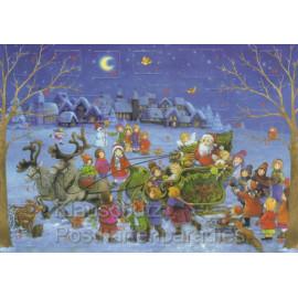 Nostalgie Adventskalender Postkarte - Der Weihnachtsmann in seinem Schlitten