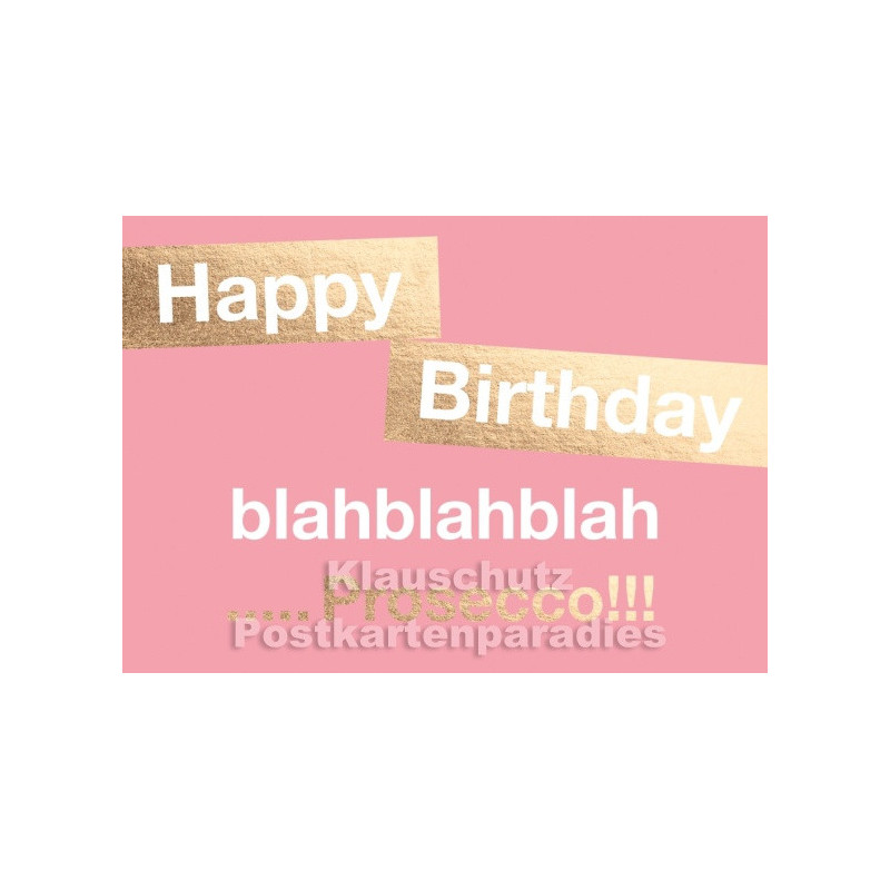 Doppelkarte zum Geburtstag - Happy Birthday ... Prosecco!