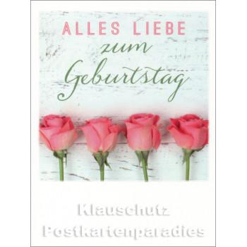 Mini Doppelkarte Polacard (6,5 x 8,5) mit Rosen zum Geburtstag