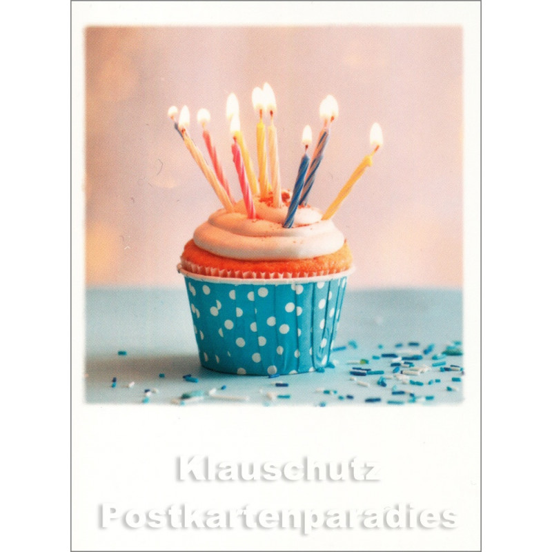 Mini Doppelkarte Polacard (6,5 x 8,5) mit Cupkake and Candles