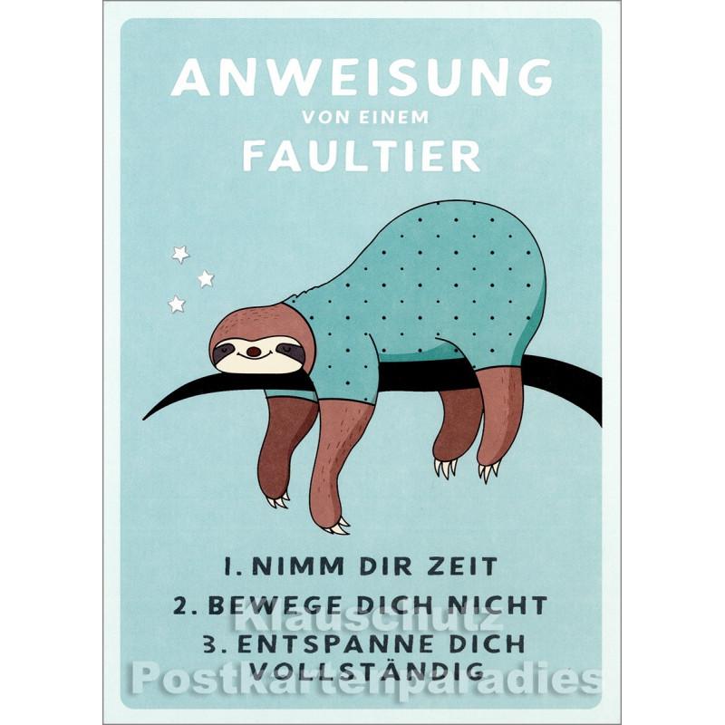 Anweisung von einem Faultier - Up-Cards Aufstell Postkarte von Taurus