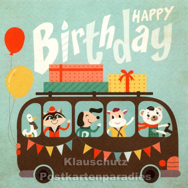 Happy Birthday Bus - quadratische Postkarte zum Geburtstag