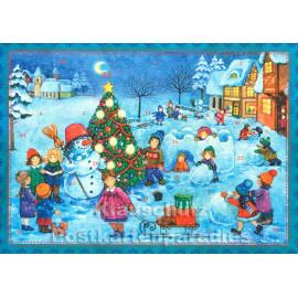 Nostalgie Adventskalender - Kinder und Schneemann