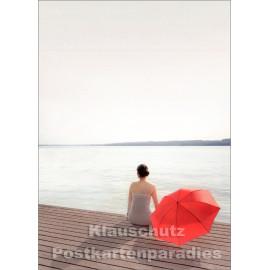 Foto Postkarte - Der rote Sonnenschirm