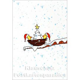 Doppelkarte Weihnachten von Rannenberg mit Küken