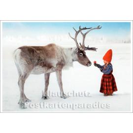 Weihnachtskarte - Ein Äpfelchen fürs Rentier