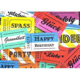 Klappkarte zum Geburtstag: Happy Birthday, Glück, Spass, Gesundheit Postkarte