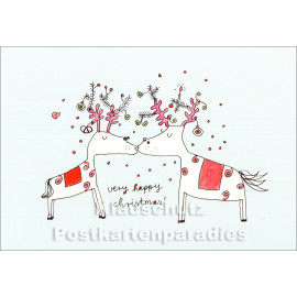 Karindrawings Weihnachtskarte | Very happy christmas mit Elchen