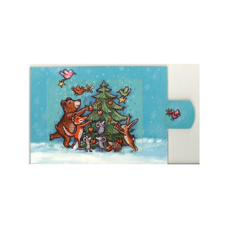 Tierische Weihnacht mit Weihnachtsbaum - Die lebende Postkarte als Weihnachtskarte