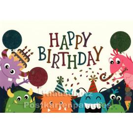 Geburtstagskarte mit Monstern