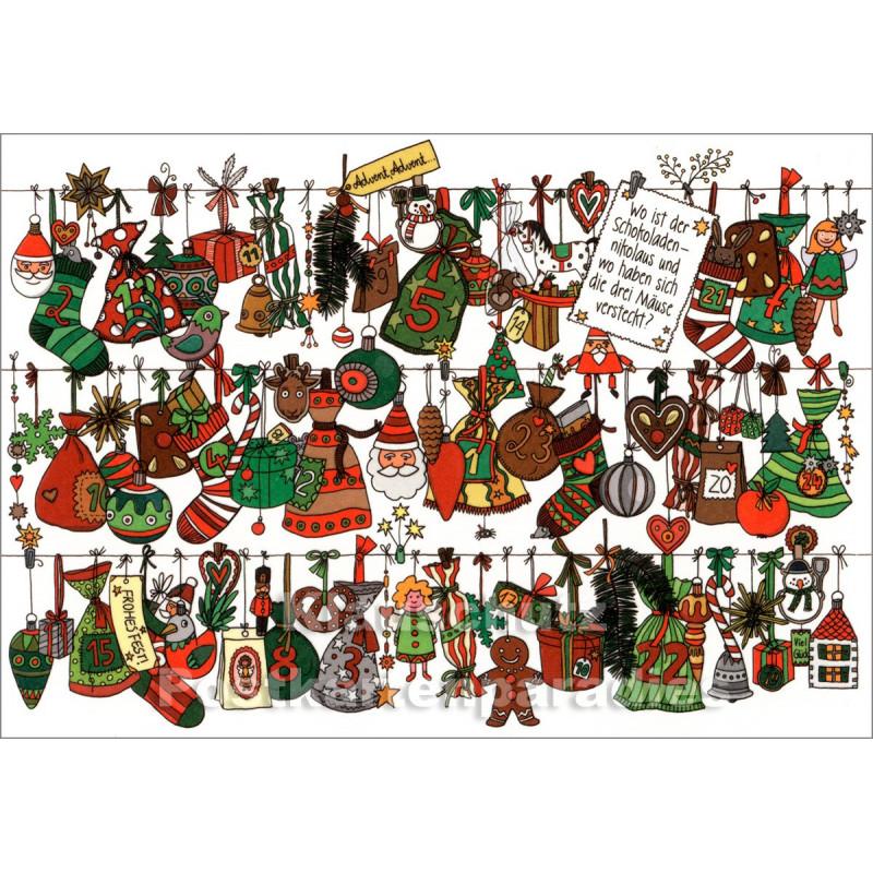 Wimmelbild Weihnachtskarte von SkoKo - Wo ist der Schokoladen-Nikolaus
