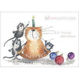 Weihnachtskarte | Weihnachtsyoga - Die Kerze anzünden