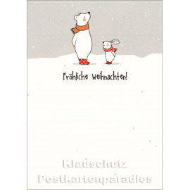 Fröhliche Weihnachten Hase und Eisbär | Postkarte Weihnachten