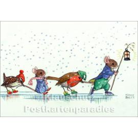 Eislaufende Tiere | Kinder Weihnachtskarte