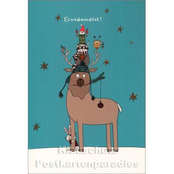 Weihnachten Doppelkarte - Tier Pyramide - Es weihnachtet!